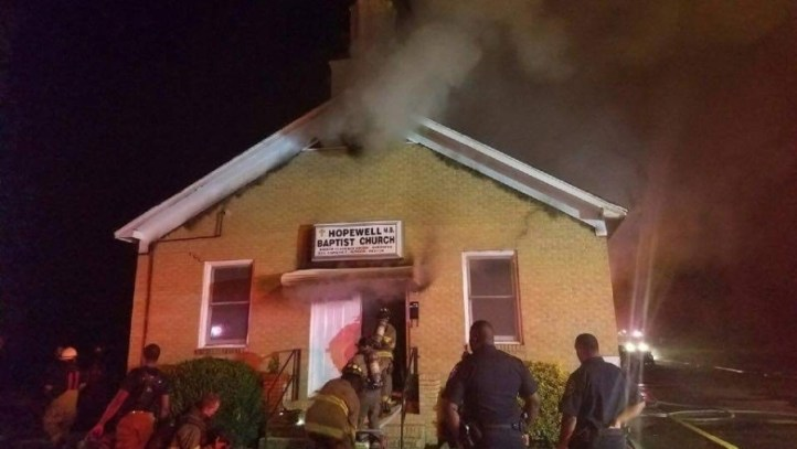 "Mississippi: African American Church Burned & Spray Painted ""Vote Trump"""