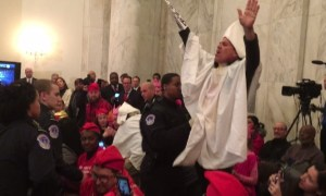 """Protestors Dressed As KKK Members Ejected From Senator Jeff Sessions Senate Confirmation Shouts, """"You Can't Arrest Me, I'm A White Man!"""""""
