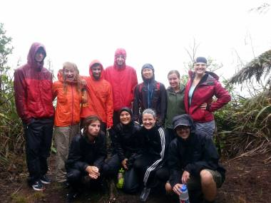The group enjoying the rain at Waitahinga Trails
