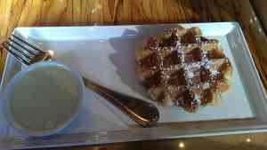 Waffle with White Chocolate Pistachio Rosewater
