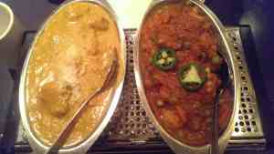 Coconut Chicken Curry (left) and Vegetable Vindaloo (right)