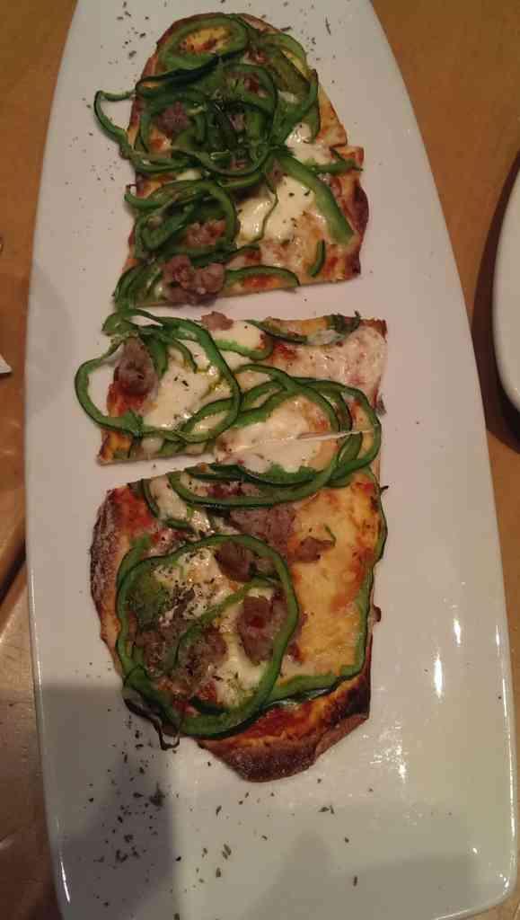 Spicy fennel sausage + poblano flatbread