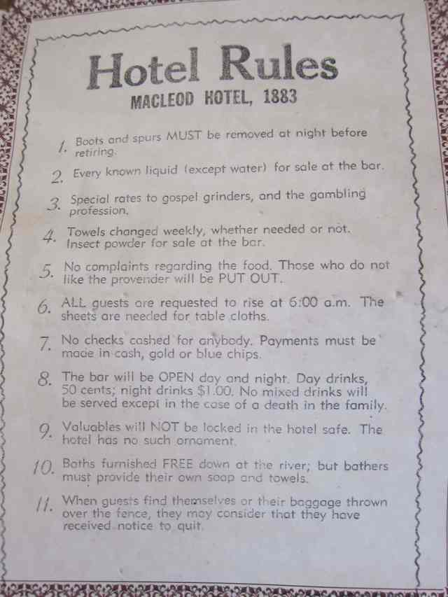 hotel rules 1883 heritage park calgary