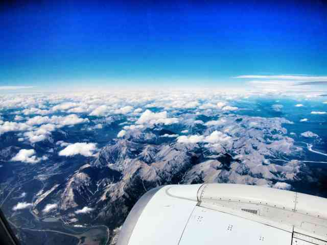 rocky mountain in the air