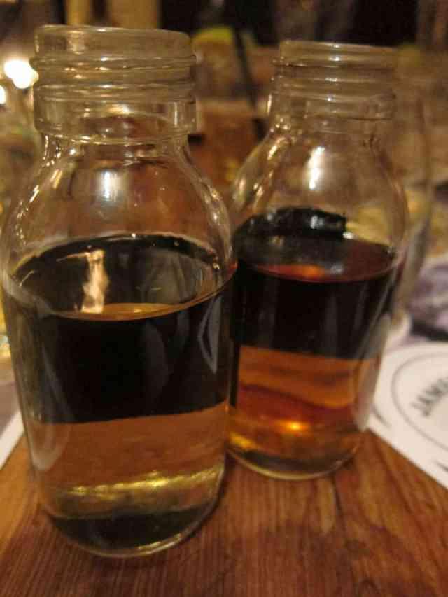 samples of spirit in sherry casks (right) and bourbon barrels (left)