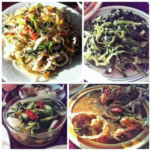 From top left clockwise: japchae, seasoned spinach, ganjang gejang, and mul-kimchi