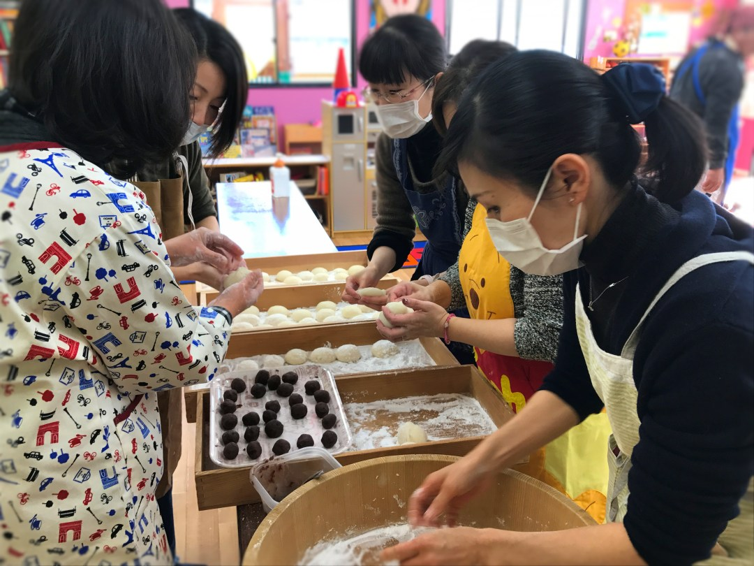 Japanese Mothers Making Mochi