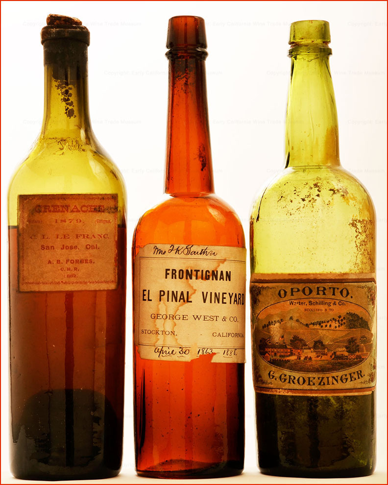 California Wine Bottles 1870s 1880s