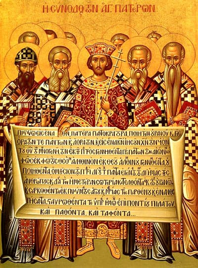 Icon depicting the Emperor Constantine (centre) and the bishops of the First Council of Nicaea (325) holding the Niceno–Constantinopolitan Creed of 381