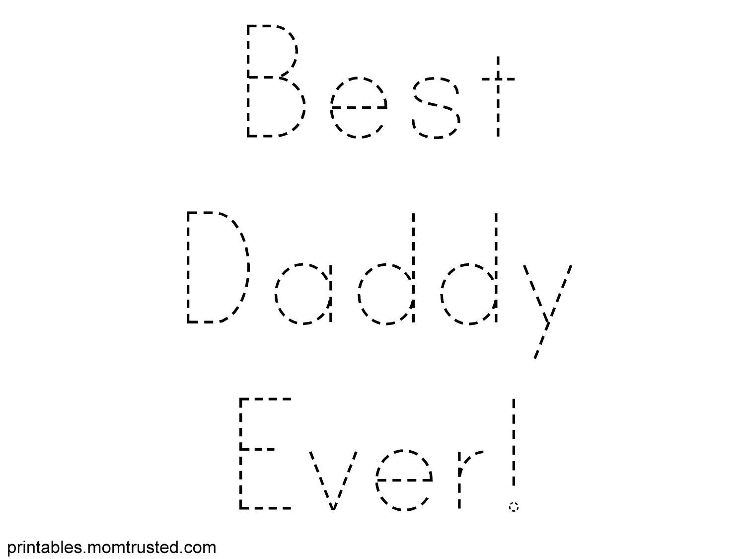 Best Daddy Ever Traceable Sheet