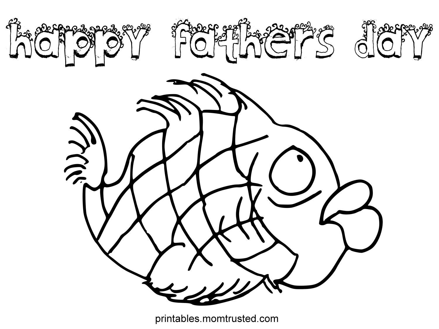 Happy Father S Day Fish Coloring Page