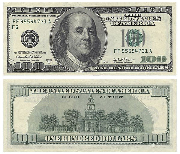 Image result for 100 dollar bill