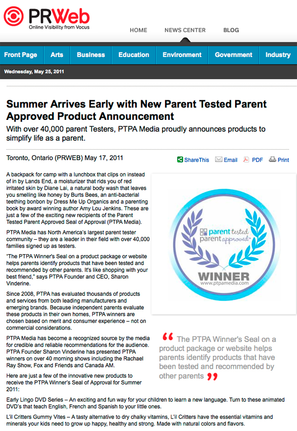 PR Web article regarding PTPA approval and Early Lingo