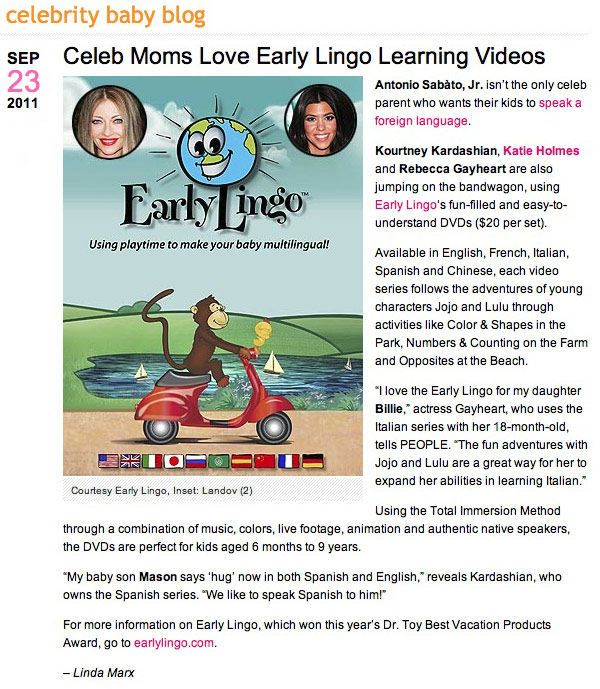 People Magazine Celebrity baby blog article about Early Lingo