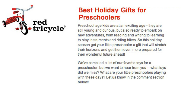 Red Tricycle 2011 top Christmas Suggestions for Preschoolers