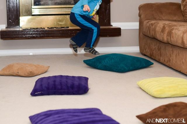 preschool math games, activity jumping games for kids using pillows