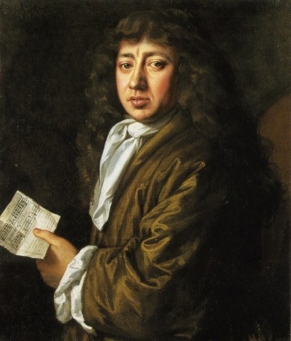 Samuel Pepys, as portrayed by John Hayls in 1666. Notice that he is holding a sheet of music: Pepys was a keen amateur musician and an enthusiastic collector of broadside ballads. His collection is now one of the most important sources of 17th century popular music.