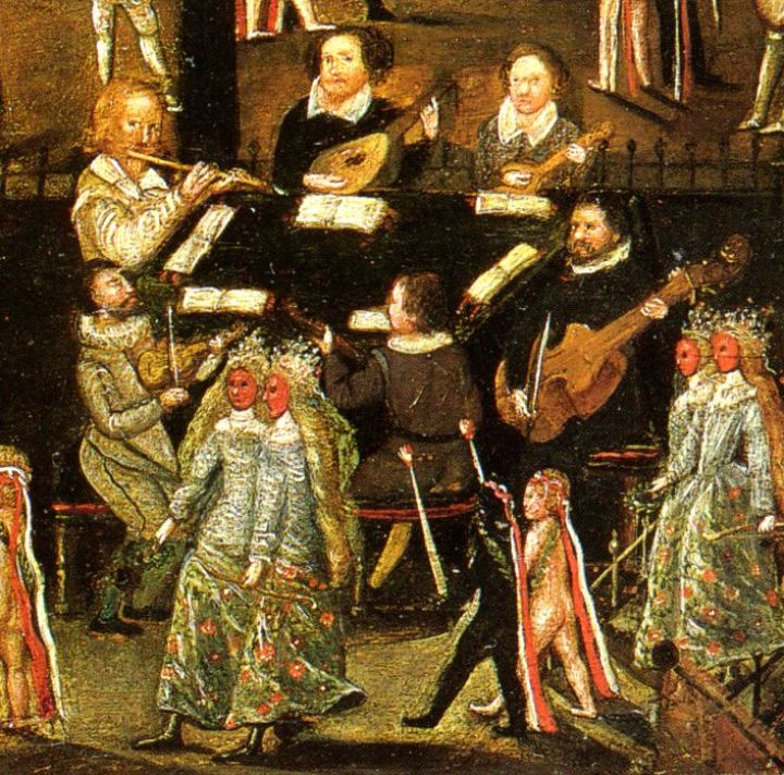 A detail from the anonymous painting, The Life of Sir Henry Unton, c. 1597, showing the broken or English consort. Clockwise from the top: lute, cittern, bass viol, bandora, violin, flute.