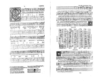 Can she excuse my wrongs from John Dowland's First Booke of Songs, 1597, showing his inventive table layout, such that four singers and a lutenist can position themselves around the same double page of the book and perform together.