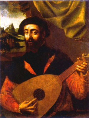 A portrait by Giulio Campi, possibly of Francesco Canova da Milano (1497–1543), an Italian lutenist revered throughout the renaissance. Note the 'thumb inside' hand position, parallel to the strings.