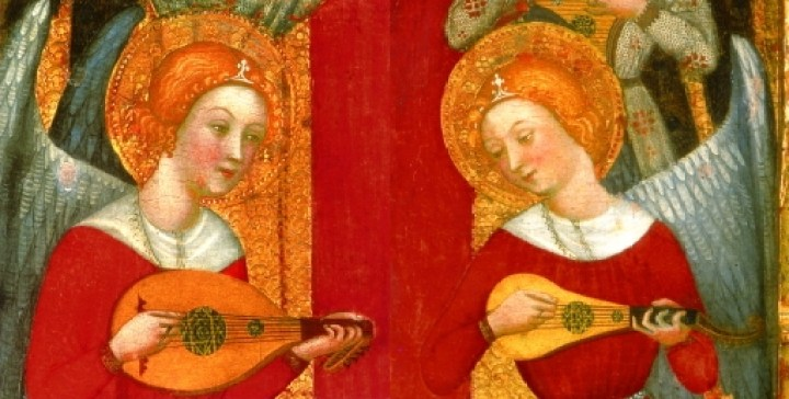 Lute and gittern playing together from Pere Serra's Virgin of the Angels, 1480s (detail), a section of an altarpiece now in the National Museum of Art of Cataluña.