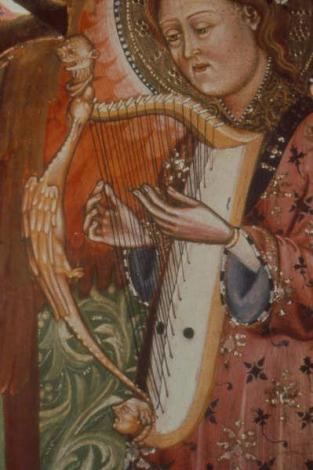 Arpa doble from the Monasterio de Piedra triptych, Spain, c. 1390.