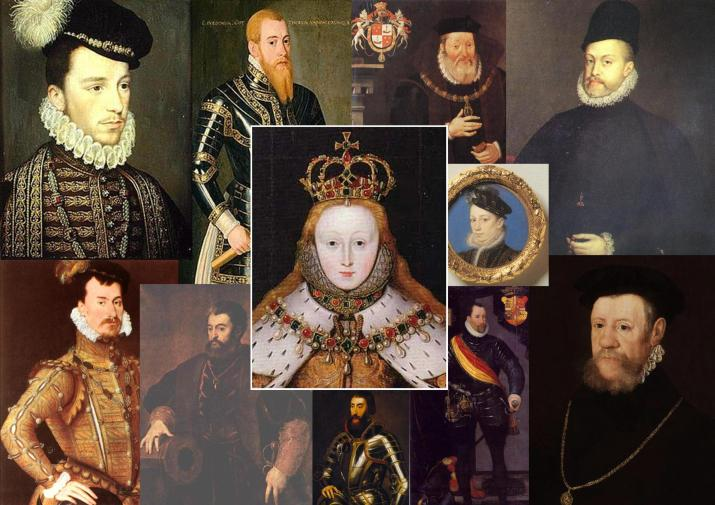 Just a few of Queen Elizabeth I's long list of suitors: it was never going to happen. Right of QE1: King Charles IX of France. Top row, left to right: Henry de Valois, Duke of Anjou; Erik XIV of Sweden; James Hamilton, second Earl of Arran; Felipe II of Spain. Bottom row, left to right: Robert Dudley; Alfonso d'Este, son of the Duke of Ferrara; Archduke Ferdinand of Austria, Holy Roman Emperor; Frederick II of Denmark; Henry Fitzalan, Earl of Arundel.