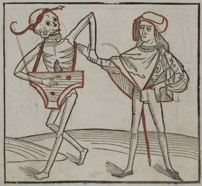Death playing a psaltery, from the Heidelberger Totentanz, 1488, a rare image of a player with a strap.