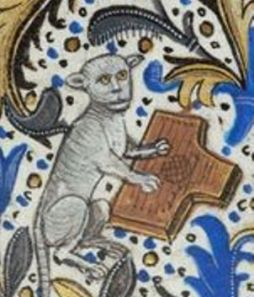 Psaltery played by a cat in a Belgian Book of Hours, c. 1470.