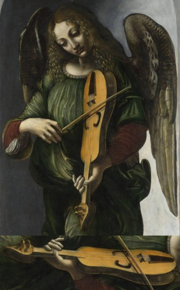 Angel in green with vielle from the Immaculate Conception Altarpiece, once in San Francesco Grande, Milan, painted by an associate of Leonardo da Vinci and Giovanni Ambrogio de Predis, possibly Francesco Napoletano, 1490–99. This vielle has the characteristic low, flat bridge, and 1 of its 5 strings is off the fingerboard as a bourdon. We see here that the bourdon is being bowed.