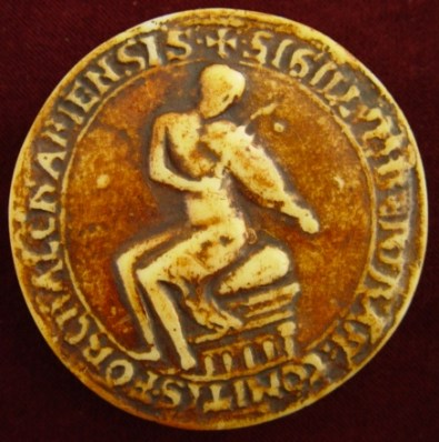 The seal of Bertan II, count of Forcalquier, France, dated 1168, depicting him playing a vielle.