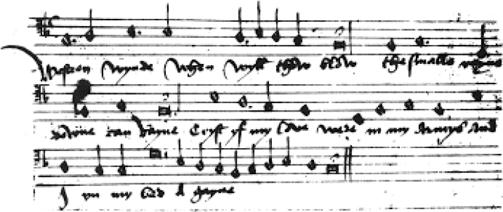 The singular verse of Westron wynde as it appears in its sole source, Royal Appendix 58, written 1507 – c. 1547.