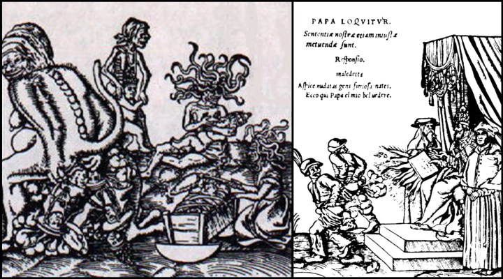 Two woodcuts by Lucas Cranach the elder. Left, The Birth and Origin of the Pope showing a female demon excreting a pontiff, and right, Papal Belvedere, showing two Germans farting at the pope and his papal bull.