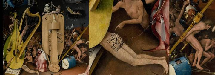 Part of the hell panel of Hieronymous Bosch's triptych, The Garden of Earthly Delights, c. 1500, with two further details depicting bum notes. In the middle we see a sinner's buttocks used as a score by a frog/man hybrid dressed as a church precentor or cantor. (The music, lacking a clef and with no distinct note values, is meaningless.) On the right we see a sinner made to carry a huge bombard/bombard/shawm across his back, while he plays a fife with flatus = flatulence.