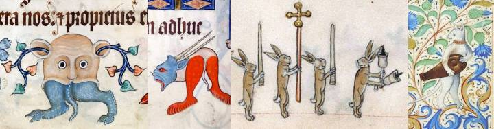 Beautiful fanciful marginalia, left to right: two hybrids from the Luttrell Psalter, England, c. 1325–1340; processional hares from the Gorleston Psalter, Norfolk, England, 1310-1324; and a cat with a hurdy gurdy, Book of Hours, France, c. 1485-1490.