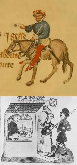 "Above: The summoner, an official in the ecclesiastical court whose task it was to summon people to attend to answer for their sins. ""A gerland hadde he set upon his heed / As greet as it were for an ale-stake."" Below: An ale-stake was a stake or pole set up in front of, or projecting from, an alehouse, often with a large garland or bush hanging from it, the predecessor of the suspended pub sign. (Image from Konrad von Ammenhausen's Schachzabelbuch, 1337.)"