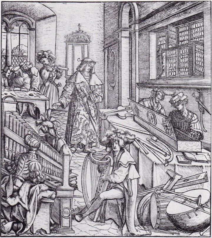 Hans Burgkmair's woodcut in Maximilian I's Der Weisskunig showing, among other instruments, a crumhorn on the table.