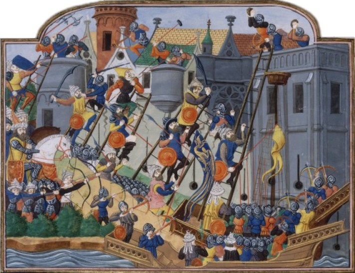 The siege of Constantinople in Chronique de Charles VII by Jean Chartier, a manuscript now classified as BNF Fr 2691, created between 1450 and 1475.