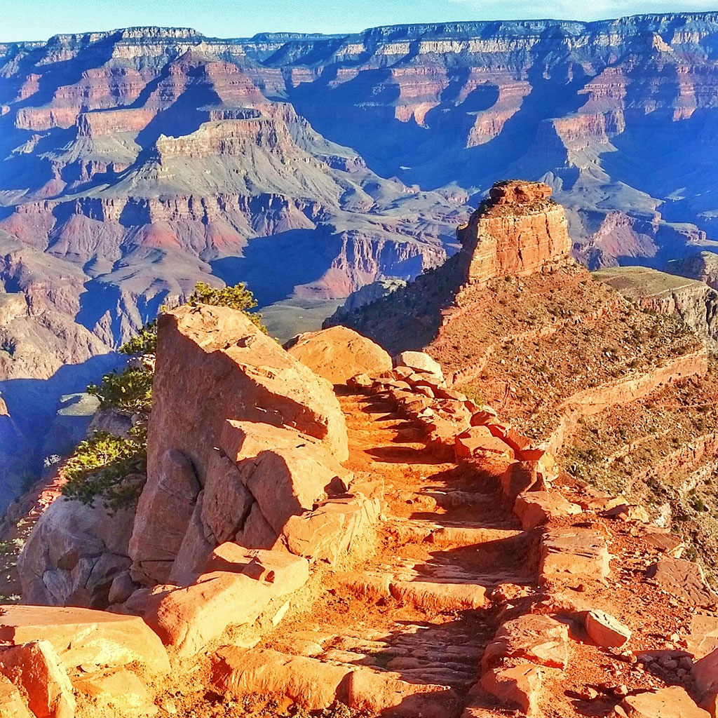 Starting down the Grand Canyon South Kaibab trail in April