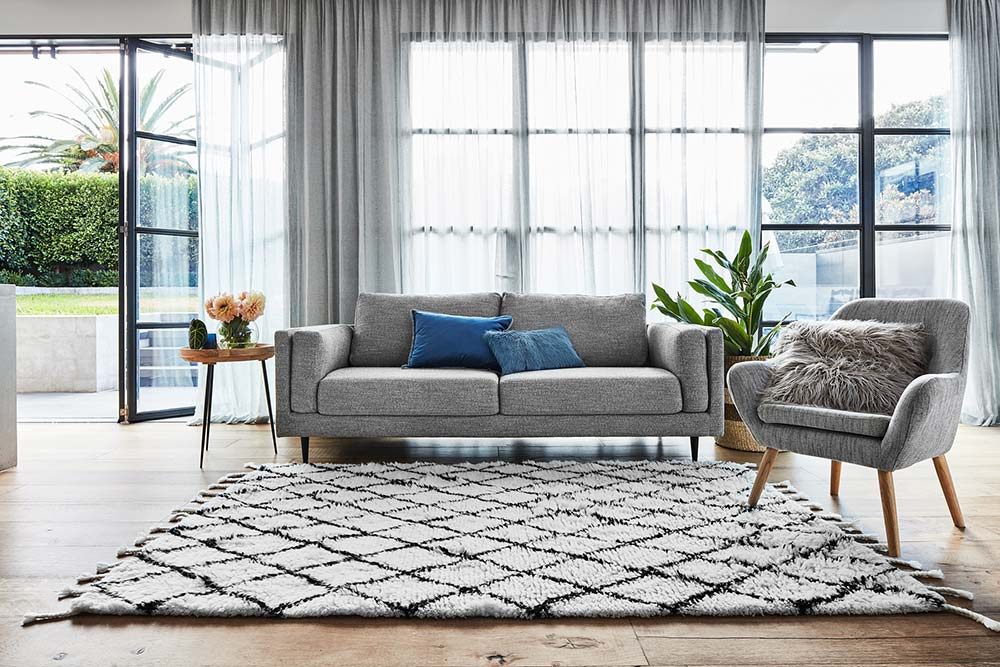 Simple styling tips for selling your home with the diamond rug