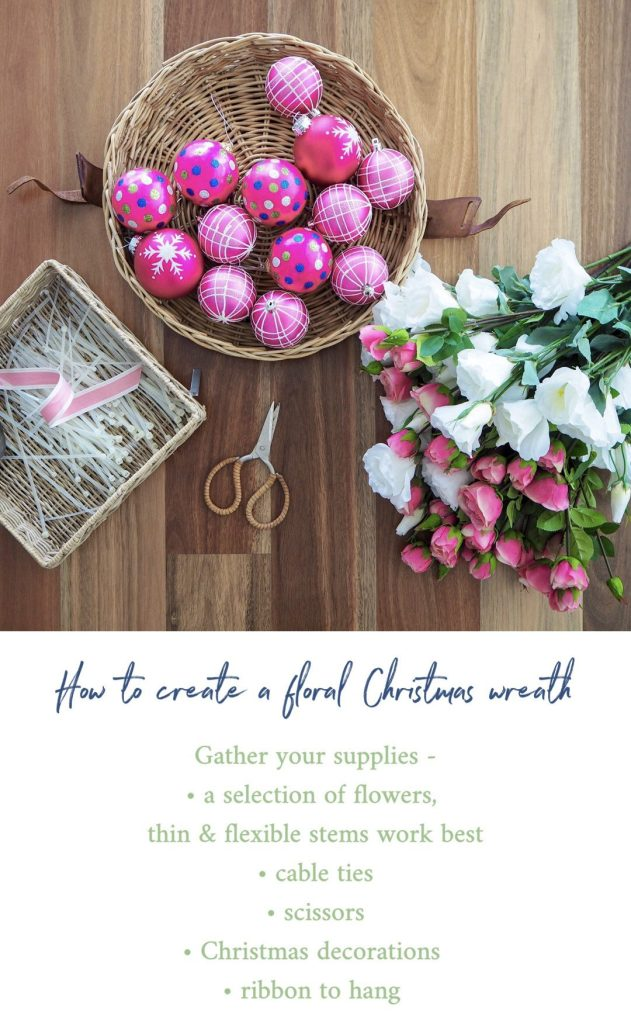 Create a Floral Christmas Wreath step 1