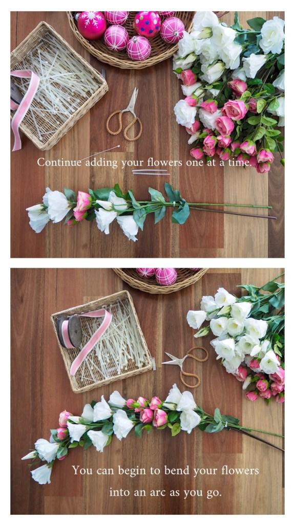 Create a Floral Christmas Wreath step 3