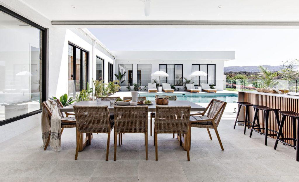 Oak & Orange: Poolside Paradise dining table