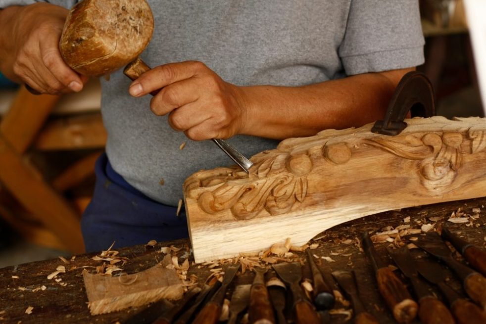 The Ancient Art of Indonesian Woodcarving carving bench