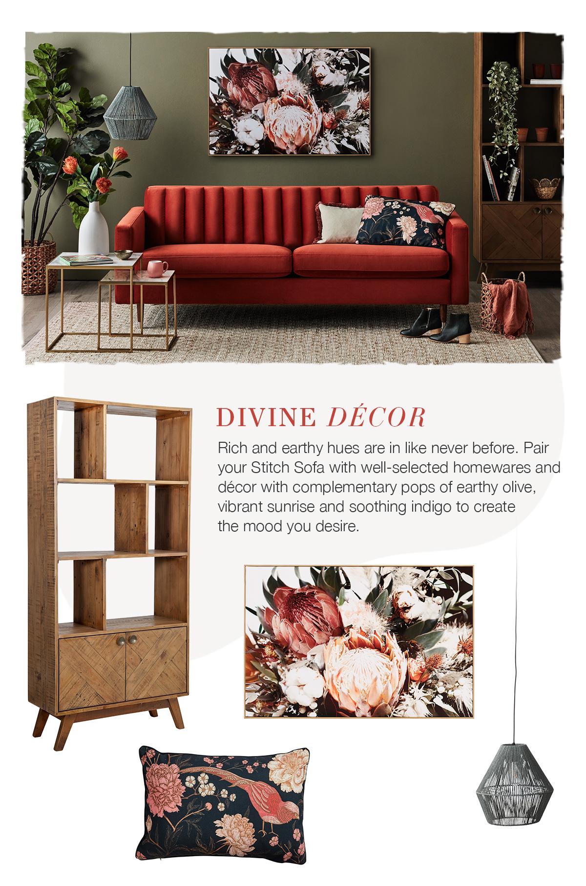 Up the Luxe with the Stitch Velvet Sofa - sunrise orange velvet sofa