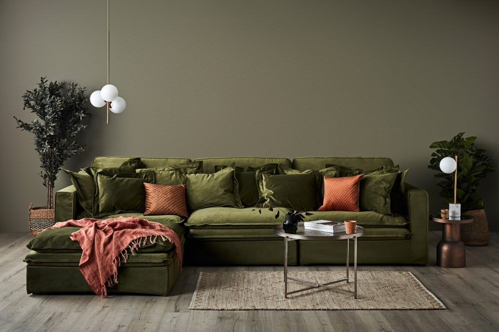 Slouch Sofa in Velvet & Earthy Tones with the Slouch in moss green