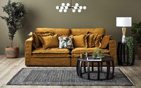Slouch Sofa in Velvet & Earthy Tones