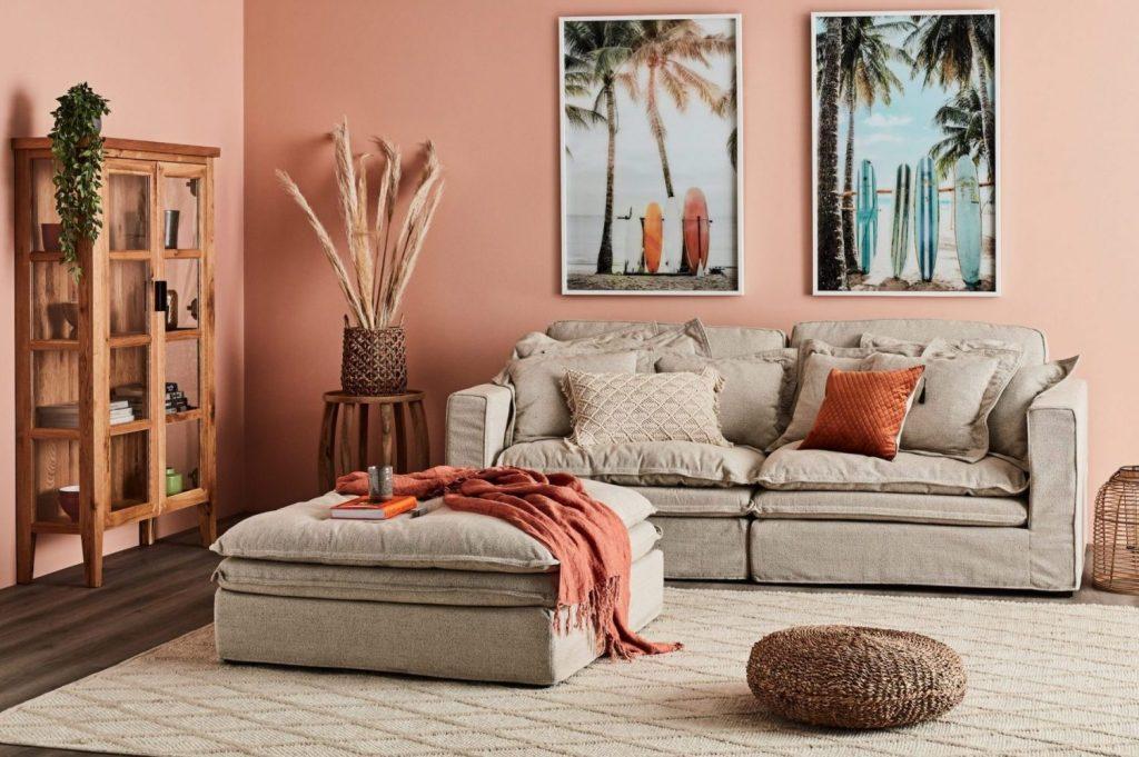 Velvet Slouch Sofa in Earthy Colours - beige
