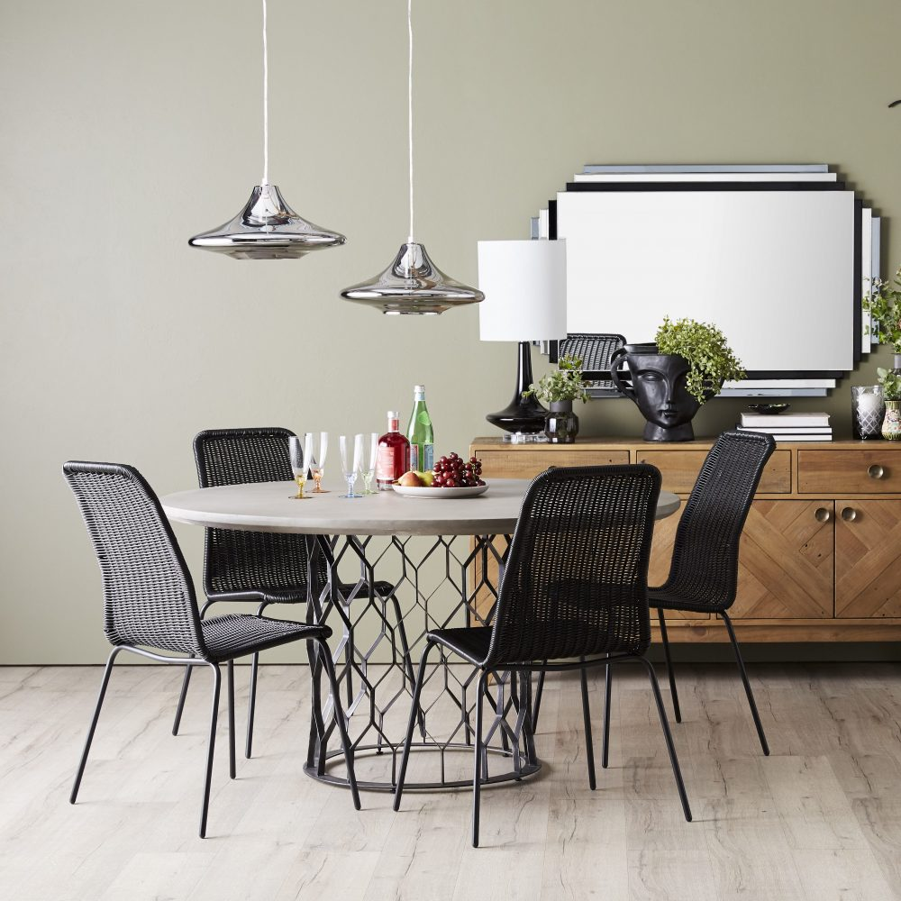Monochrome Dining Zone with lighting