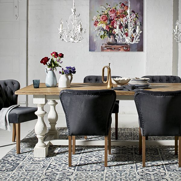 Monochrome Dining Zone with pops of colour